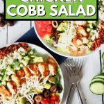 pin for easy healthy chicken cobb salad, with two plates of chicken cobb salad.