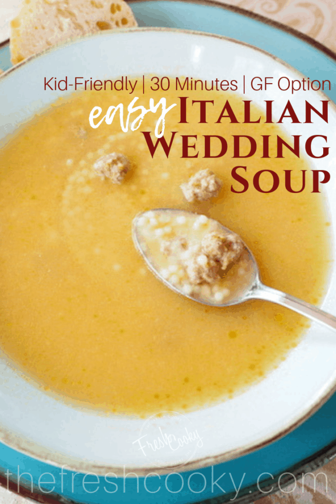 A simple, flavorful recipe for Italian Wedding Soup, the Italian version of Chicken Noodle Soup. With tiny, tender, savory meatballs, teensy pasta in a seasoned chicken broth; it's the perfect chilly night dinner (or lunch). #thefreshcooky #italianweddingsoup #soup #chickenbroth #meatballs
