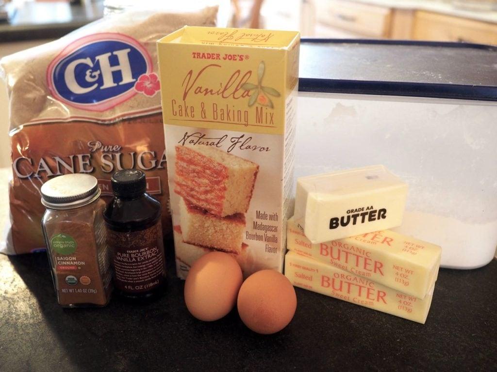 Ingredients for Starbucks Coffee Cake. L-F Brown Sugar, vanilla cake mix, butter, eggs, vanilla, cinnamon, flour.