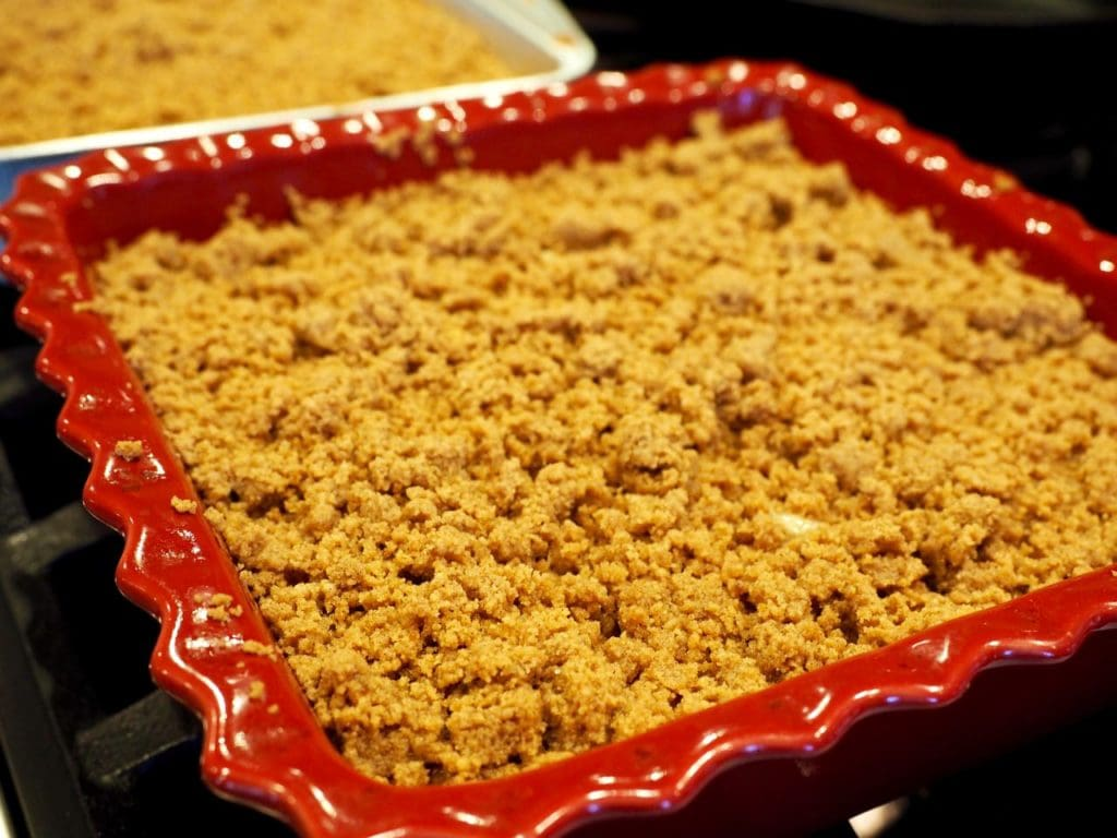 With a thick streusel crumb topping a fluffy, buttery cake, this Starbucks Copycat Coffee cake will get them out of bed in the morning! #thefreshcooky #coffeecake #starbucks #copycat #crumbcake