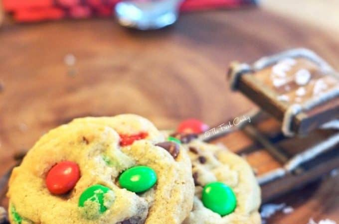 Holiday M & M Chocolate Chip Cookies on wintery setting www.thefreshcooky.com