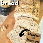 Pin for Easy beer bread with sliced loaf of beer bread and spilled cup of beer.