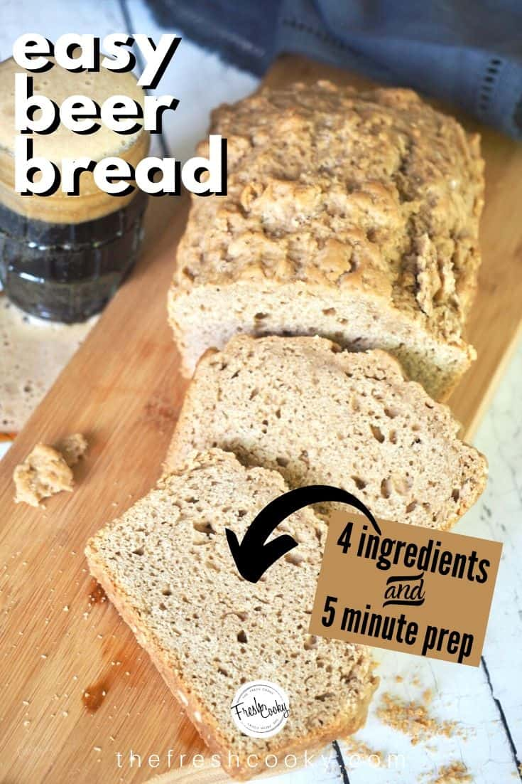 This easy Best Beer Bread recipe is one of the easiest bread recipes around and so delicious. With just 5 minutes prep, 4 main ingredients, no rise time & just 1 hour, it's perfect with every meal. Recipe via @thefreshcooky | #beer #stout #recipes #easyrecipes  #norise #noknead #bread #quickbread  via @thefreshcooky