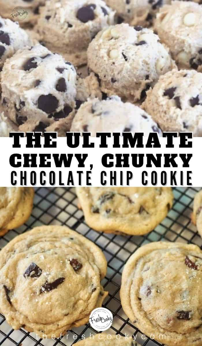 The BEST! Or WORST depending on how you see soft, chewy, chunky, thick and  wrinkly chocolate chip cookies!! You won't be disappointed, a recipe 20 years in perfecting! High altitude and sea level directions. These are the BEST cookies EVER! Recipe via @thefreshcooky | #thick #chewy #chunky #chocolatechipcookies #secret #easyrecipes #altitude via @thefreshcooky