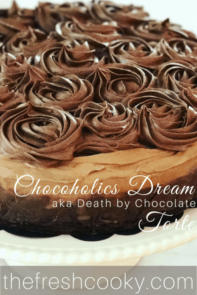 Chocoholic Dream Torte | www.thefreshcooky.com #triplechocolate #chocolatetorte #brownie #ganache