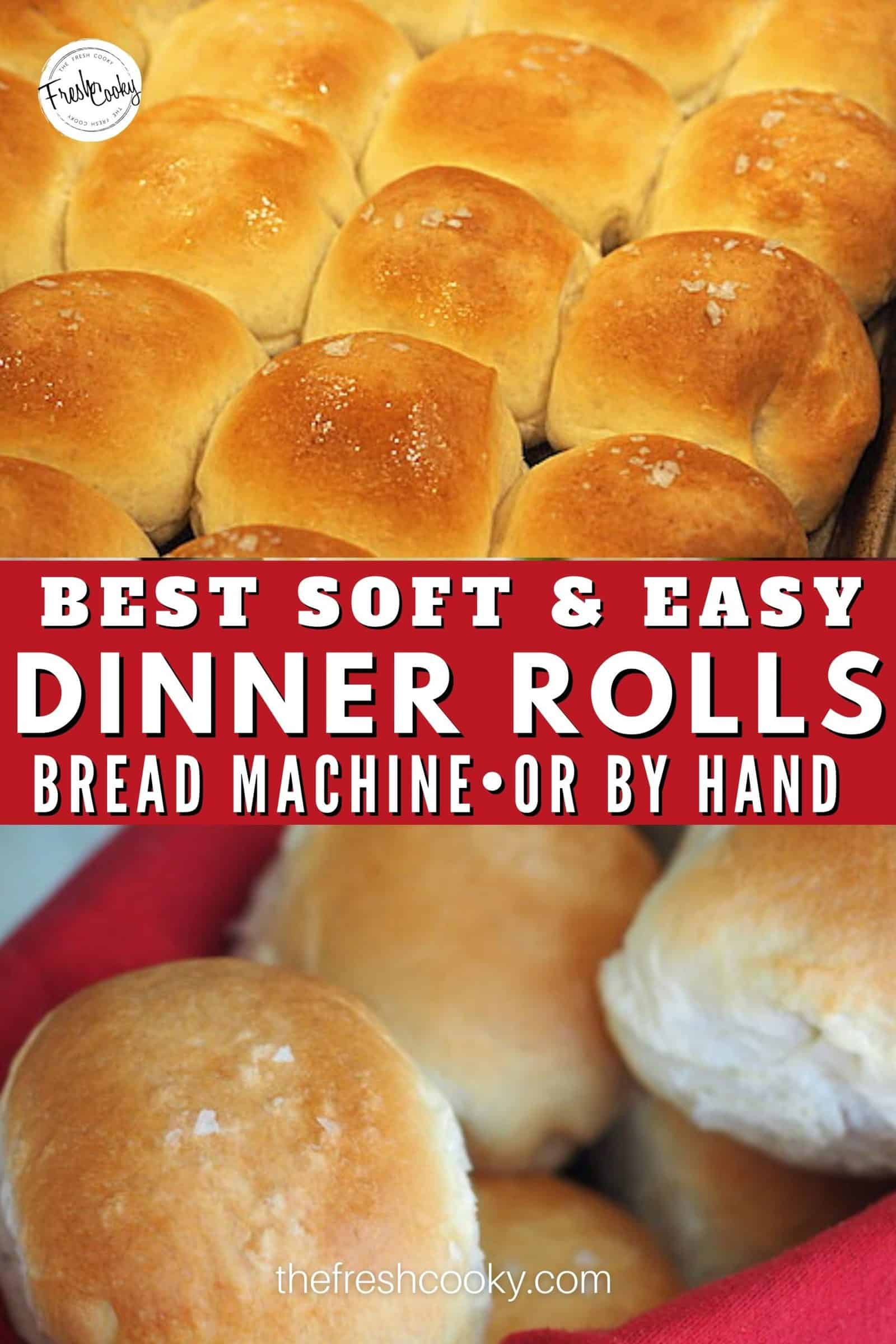 Easy and simple, the best yeast dinner rolls -- start in your bread machine, finish in the oven for perfect dinner rolls every single time! Great for holiday meals, like Thanksgiving, Christmas, Easter or anytime you need a soft, buttery, dinner roll. #thefreshcooky #bestdinnerrolls #holidayrecipes via @thefreshcooky
