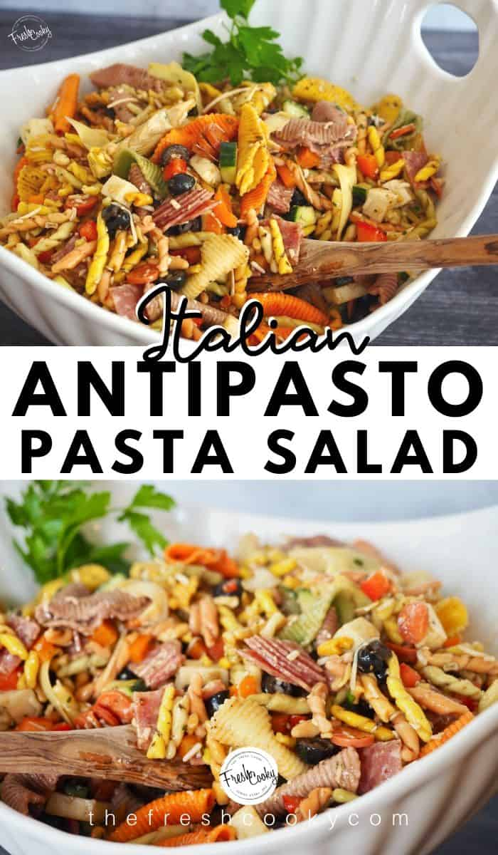 An easy Italian antipasto pasta salad recipe is made with cucumbers, red and orange bell peppers, pasta, artichoke hearts, olives, meat, cheese, and homemade Balsamic dressing!  The perfect dish to bring to a summer picnic, potluck or barbecue!  Also great for meal planning. 