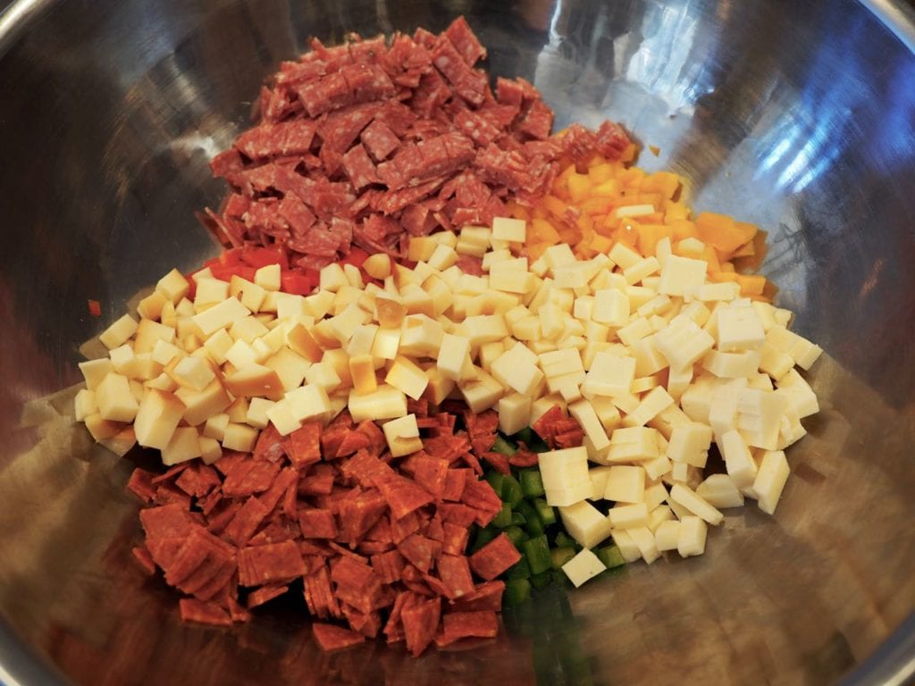 Genoa Salami, cheeses and pepperoni for pasta salad | www.thefreshcooky.com