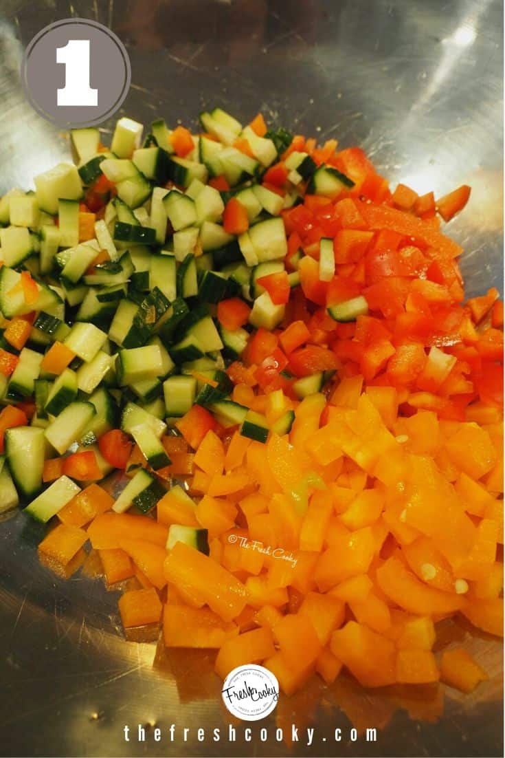 process shots 1. silver bowl with chopped cucumbers, red peppers, orange peppers.