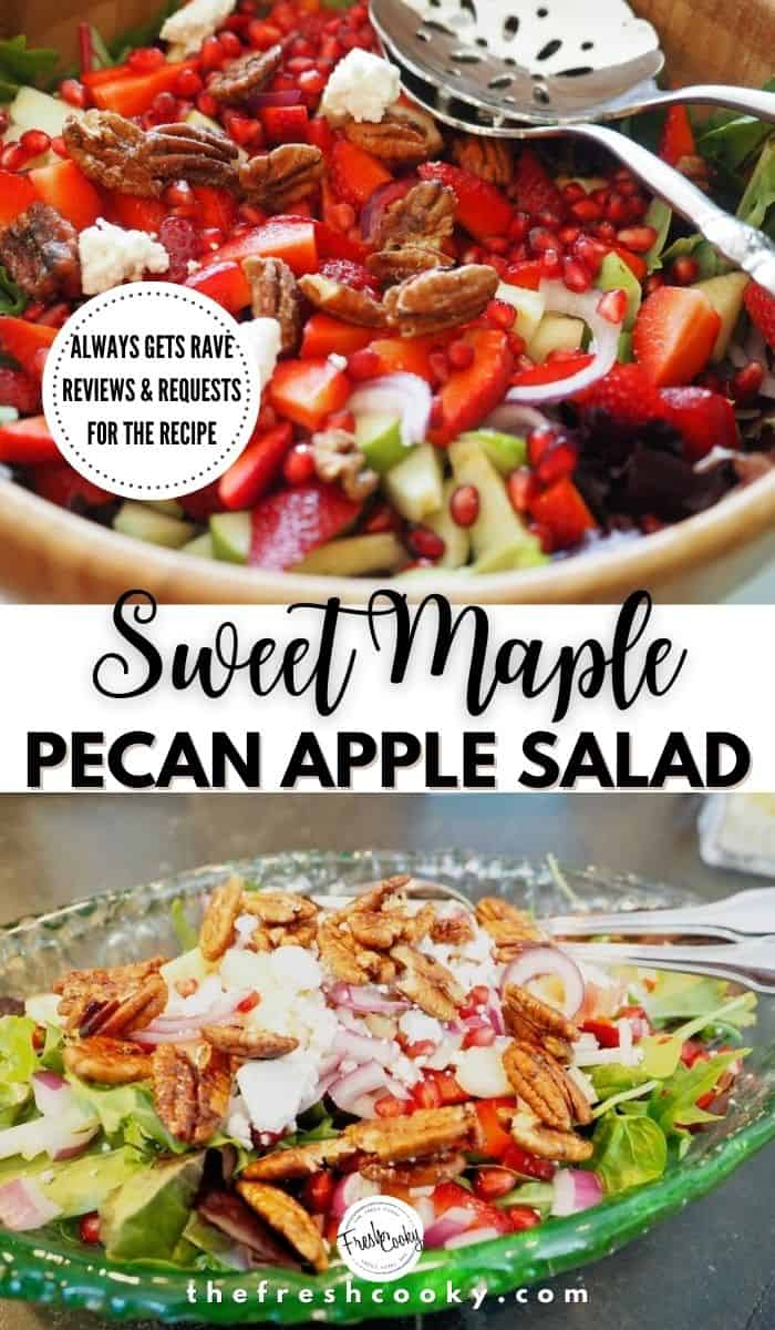This is the BEST salad...EVER! Sweet Maple Apple Pecan Salad. With a simple maple syrup vinaigrette dressing this salad is always requested. Field greens, crisp apples, red onions, candied pecans and if desired strawberries! A great and easy summer or fall Salad! Recipe via @thefreshcook | #salads #best #easyrecipe #summer #winter #sidesalad  via @thefreshcooky