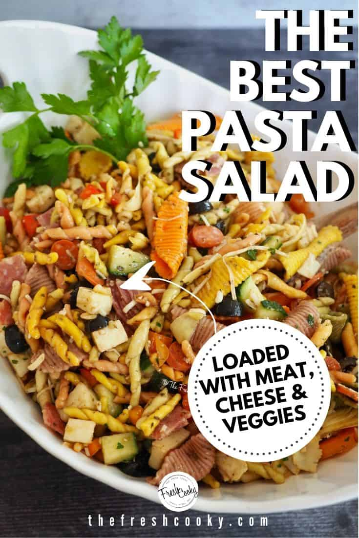 An easy Italian antipasto pasta salad recipe is made with cucumbers, red and orange bell peppers, pasta, artichoke hearts, olives, meat, cheese, and homemade Balsamic dressing! The perfect dish to bring to a summer picnic, potluck or barbecue! Also great for meal planning. Recipe via @thefreshcooky | #antipastopastasalad #pastasalad #sidedish #Italian via @thefreshcooky