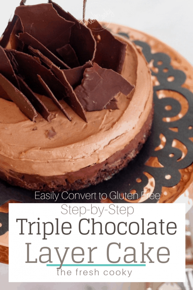 Triple Chocolate Layer Cake {easy} | www.thefreshcooky.com