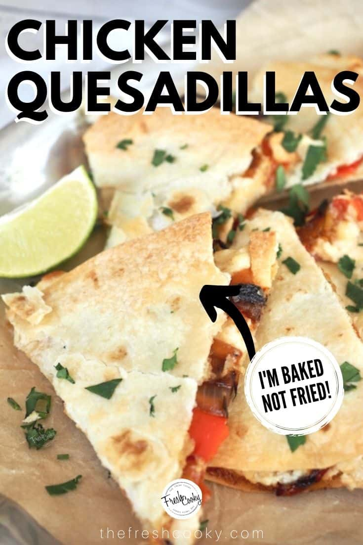 Chicken, cheese, caramelized onions and peppers oh my! These baked chicken quesadillas are no ordinary appetizer! Think game day, a lighter dinner, appetizer, even Taco Tuesday. Baked not fried. #chickenquesadilla #easyweeknightdinner #thefreshcooky via @thefreshcooky