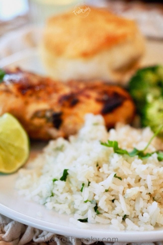 Cilantro Lime Rice with Coconut Chicken Pin | www.thefreshcooky.com