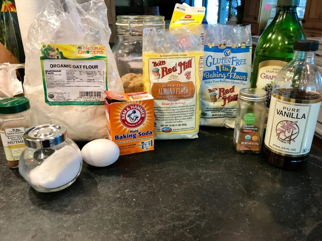 Ingredients for Gluten Free Coffee Cake; Oat Flour, Almond FLour, Gluten Free 1-1 flour, oil, brown sugar, vanilla, cinnamon, baking soda, egg, nutmeg and salt recipe for Gluten Free Coffee Cake | www.thefreshcooky.com