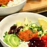 Greek Quinoa Bowls with Romesco Sauce