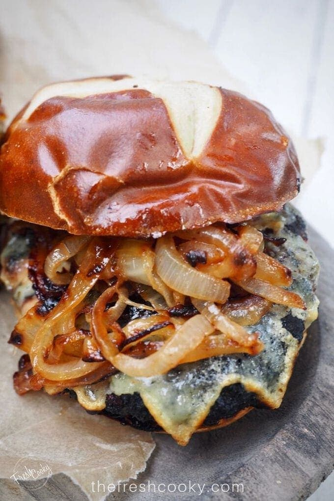 Juicy Bison Burgers with Carmelized Onions