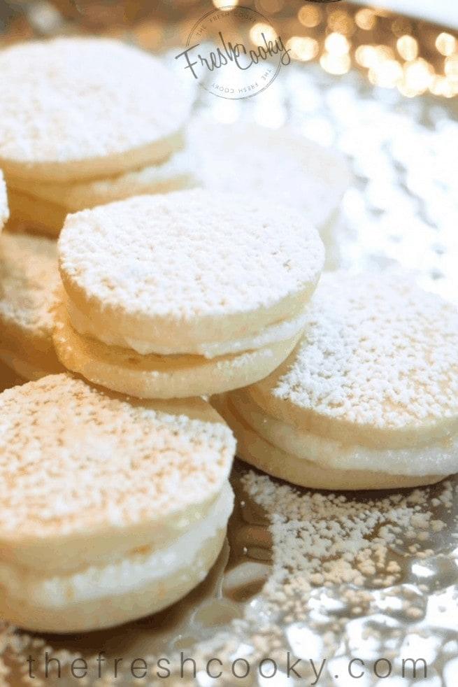 Lemon Tea Cookies on a silver plate | www.thefreshcooky.com