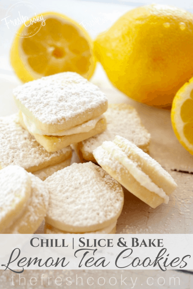 Lemon Sandwich Cookies stacked Pin | www.thefreshcooky.com