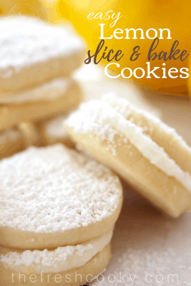 Lemon Slice & Bake Sandwich Cookies Pin | www.thefreshcooky.com
