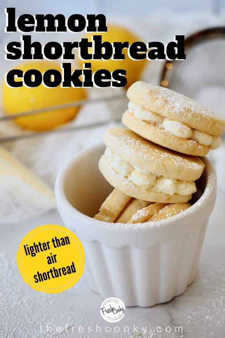 Lemon Shortbread Sandwich Cookies are a light, buttery slice and bake cookie with a bright lemon flavor. Tender, not overly sweet, with a delicious sweet-tart lemon frosting sandwiched between. These might possibly be my most favorite cookie. www.thefreshcooky.com | #lemoncookie #lemon #shortbread #refrigeratorcookie #sliceandbake #buttercookie #lemonfrosting #lemoncream #sandwichcookie #easyrecipe #eggfree #teacookies #mothersdaybrunch #easterrecipe via @thefreshcooky