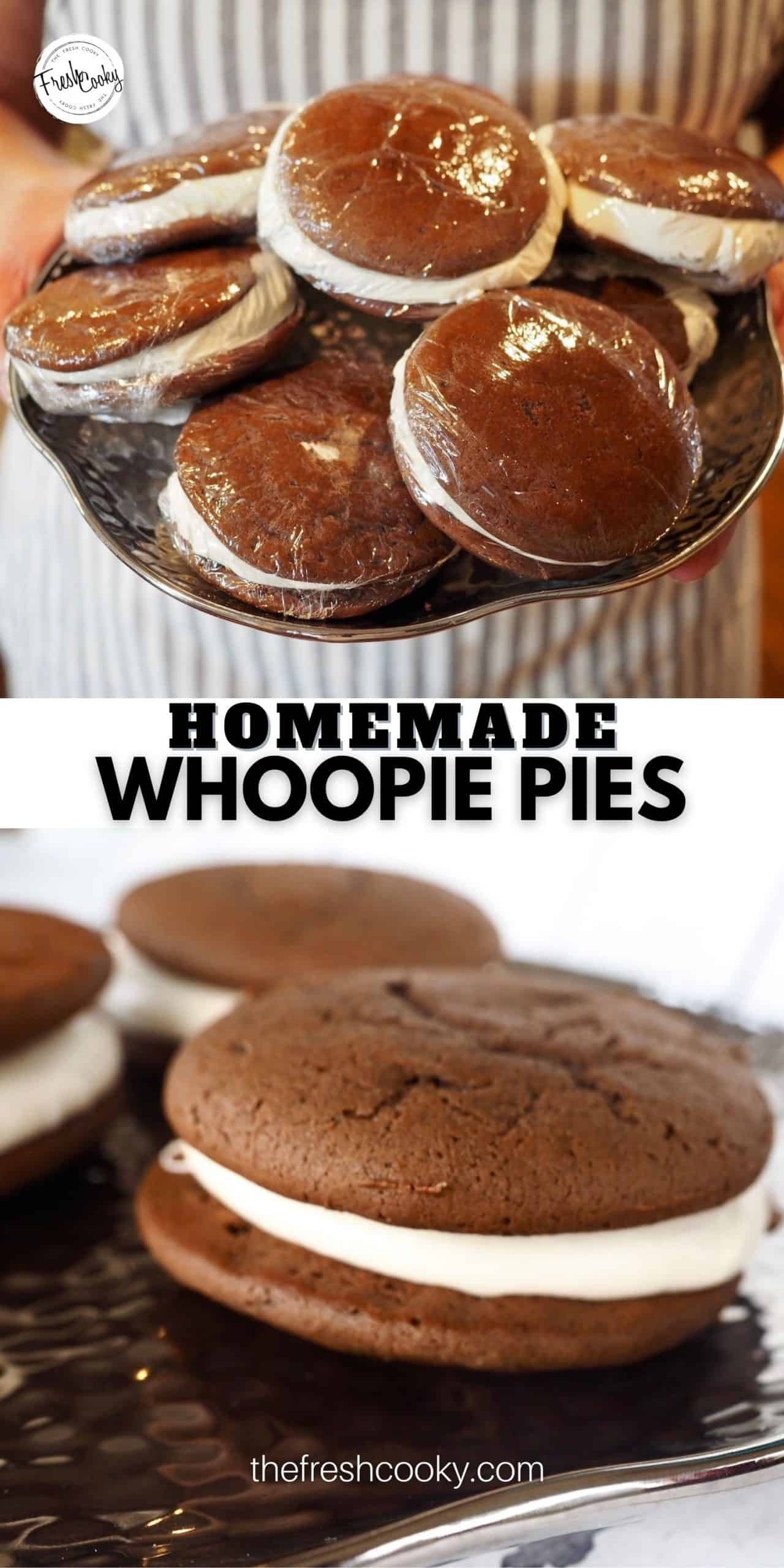 """How to Make Classic Chocolate New England (Maine) Whoopie Pies are the best sandwich cookie ever and they are easy! Cakey """"pies"""" sandwiching a marshmallow buttercream center. These are a Christmas tradition in our house. And they travel really well! Amish or Maine, these are authentic whoopie pies, pop in the freezer too! #thefreshcooky #homemade  via @thefreshcooky"""