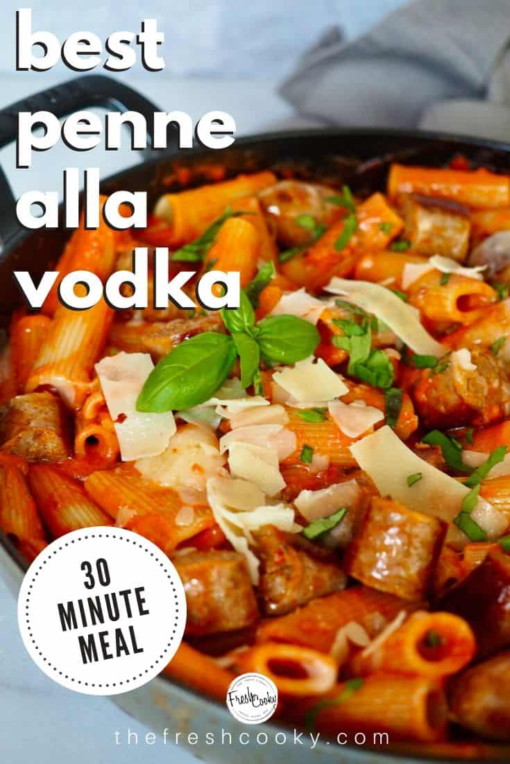 Penne alla Vodka is an elegant, delicious and super simple entertaining meal! Ready in 30 minutes or less, this creamy tomato pasta sauce, with fresh parmesan and basil will knock your socks off. You can even make it ahead! Recipe via @thefreshcooky | #vodka #redsauce #pasta #vodkasauce #christmasevedinner #dinner #easyrecipes #Italian