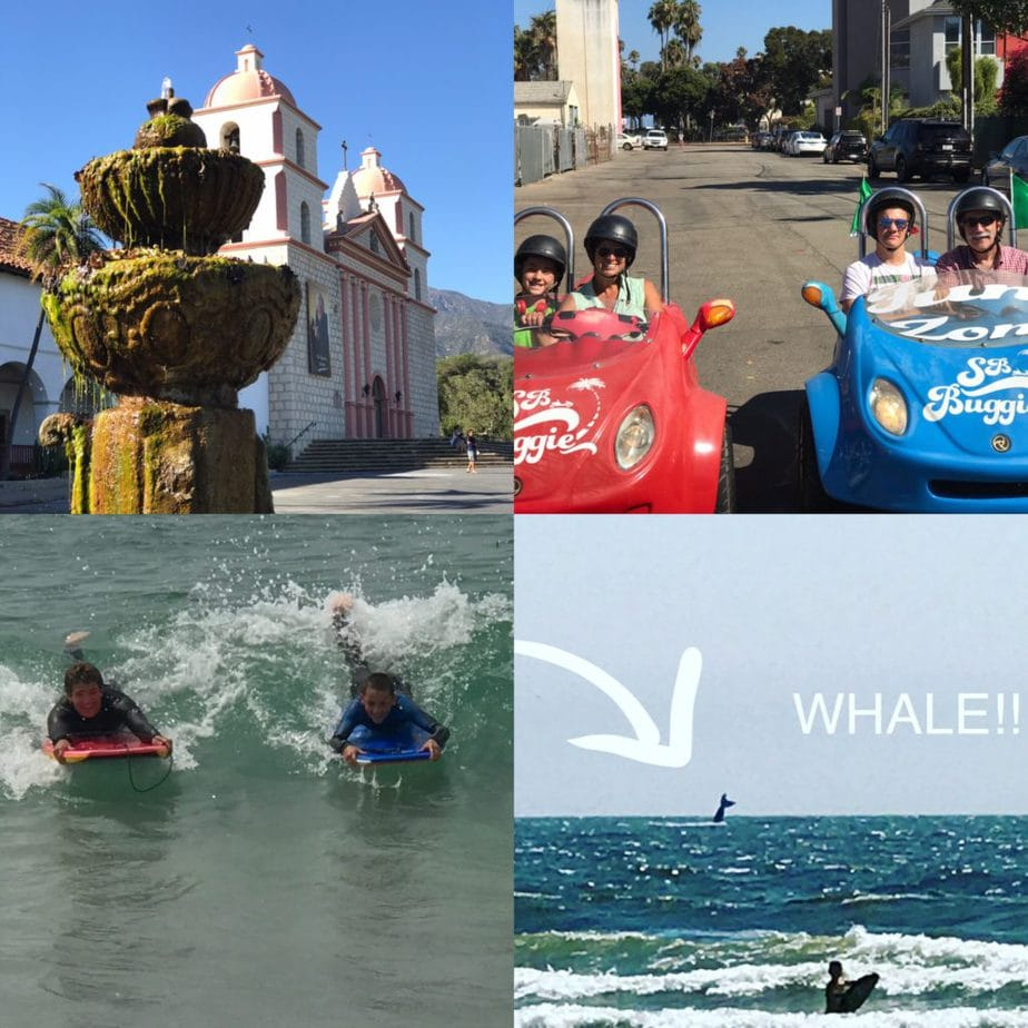4 images, left to right. A mission in Santa Barbara, a red and blue go-cart style buggie with me and Gabe in one and my husband and Kieran in the other on a street ready to tour. Boys boogie boarding in the ocean and boy boogie boarding with a whale tail surfacing in the far distance with an arrow and the word WHALE!