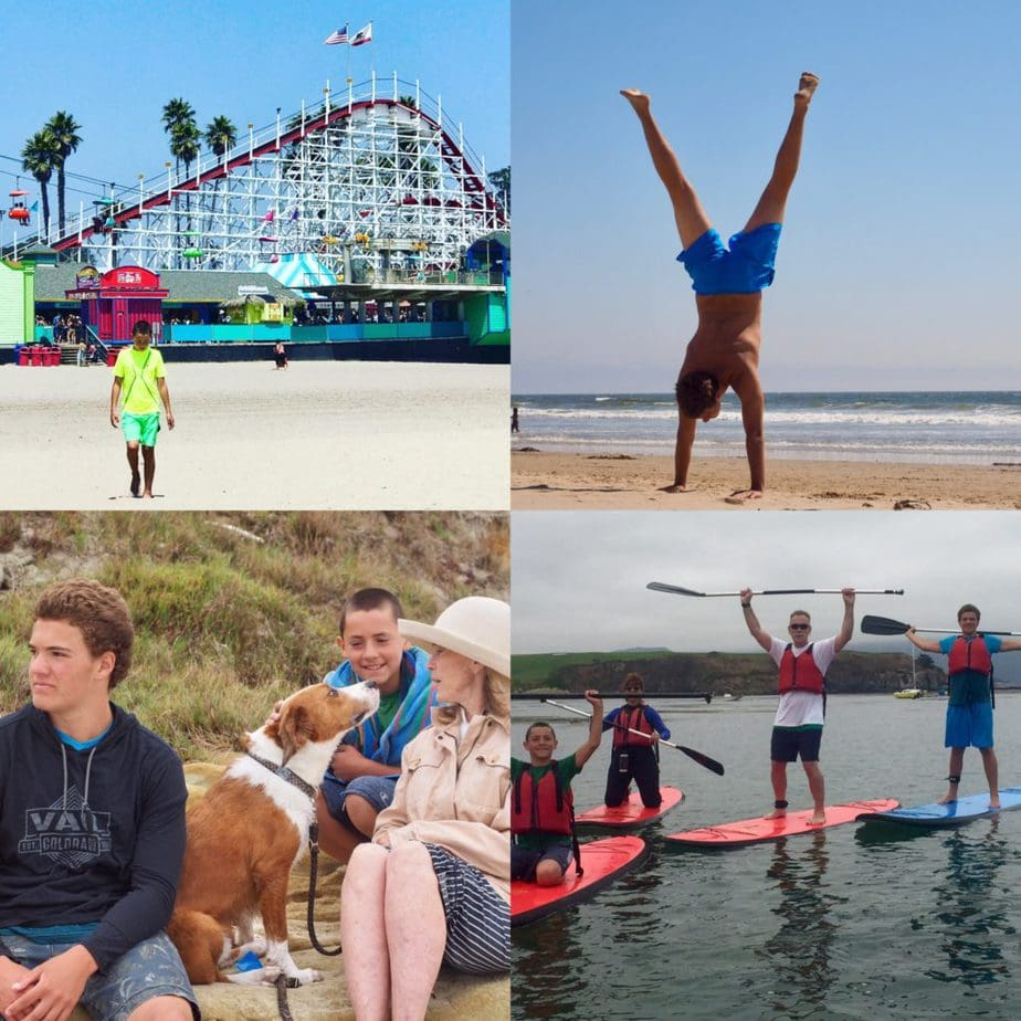 4 images, left to right. Gabe walking on the beach at santa Cruz with a roller coaster in background, Kieran doing handstand on the beach in blue shorts, two boys, a dog and gramma on the beach, our family 4 people, on paddle boards in a cove.