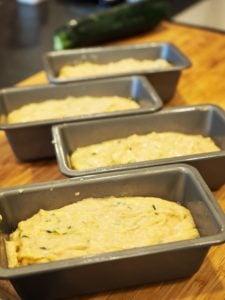 zucchini bread batter in mini loaf pans | www.thefreshcooky.com