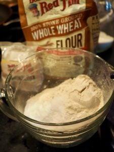 whole wheat flour in bowl | www.thefreshcooky.com