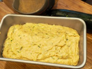 zucchini bread batter in loaf pan | www.thefreshcooky.com