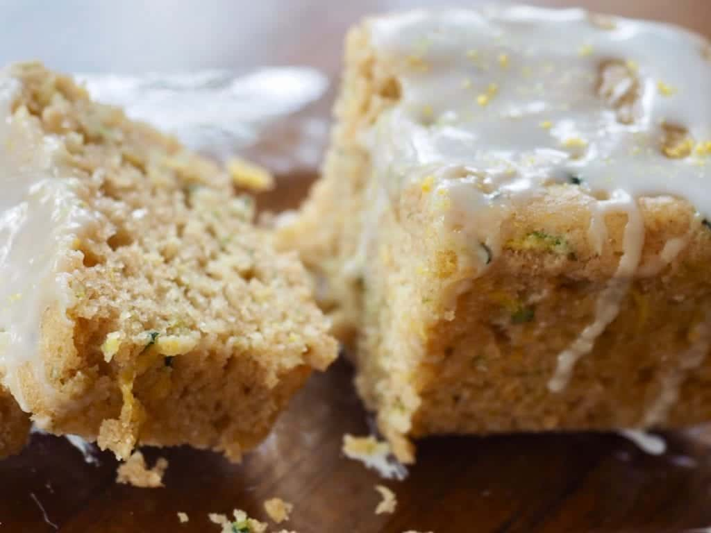 A close-up picture of Lemon Zucchini Loaf, sliced  | www.thefreshcooky.com