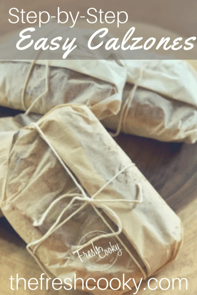 Pinterest Image of easy calzones wrapped in parchment paper and tied with bakers twine, ready for the freezer.