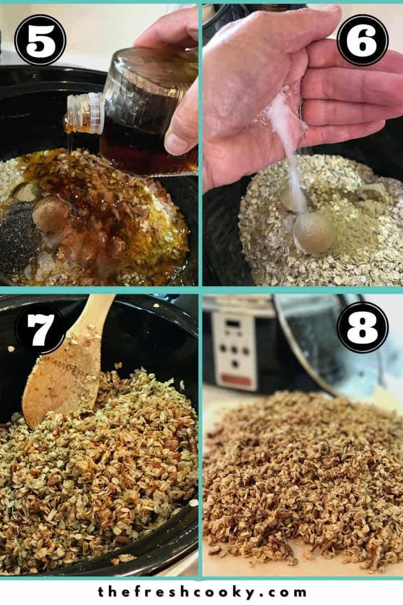Process shots for granola. left to right, adding maple syrup, adding salt, stirring granola, granola finished outside of crockpot.
