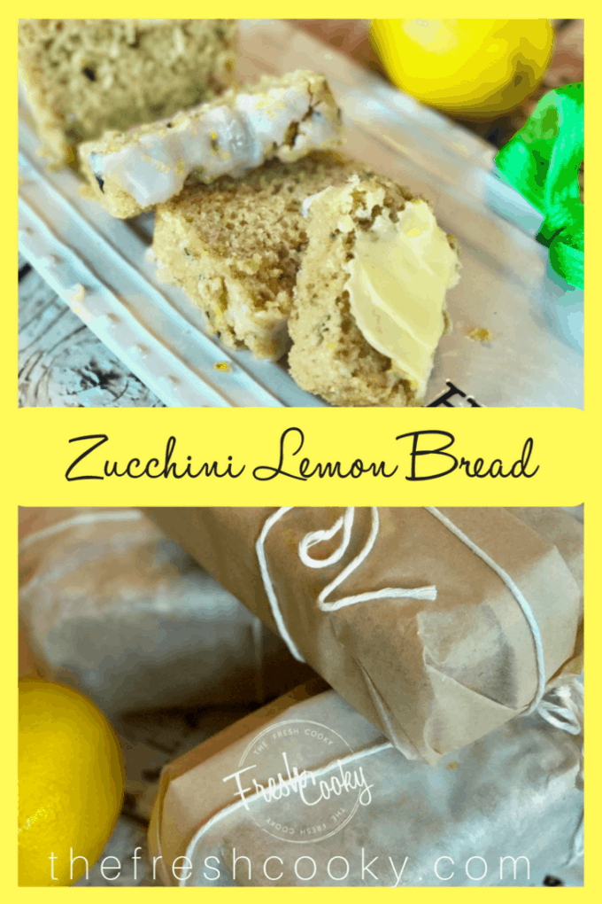 Lemon zucchini bread slices and wrapped loaves pin | www.thefreshcooky.com