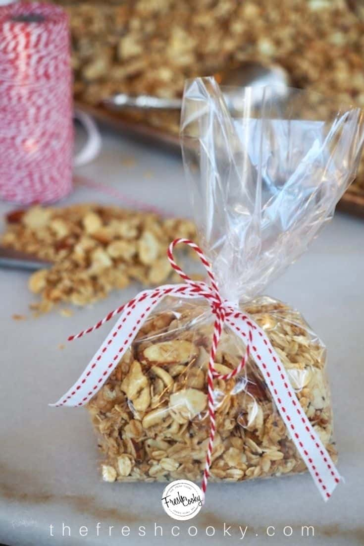Cello bag tied with ribbon filled with soft granola, great for gift giving.