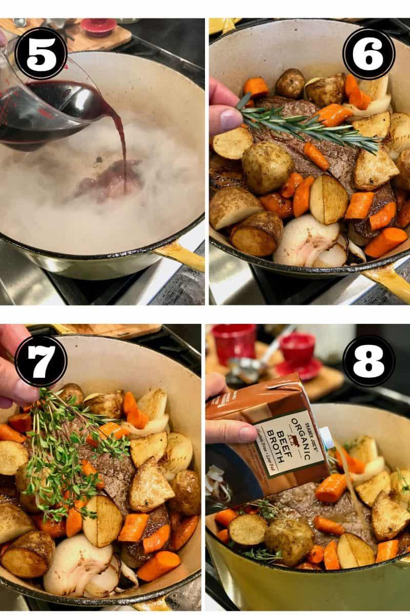 Pot Roast Process shots 5. deglazing pan. 6 adding fresh rosemary, 7. adding fresh thyme. 8 adding beef broth.