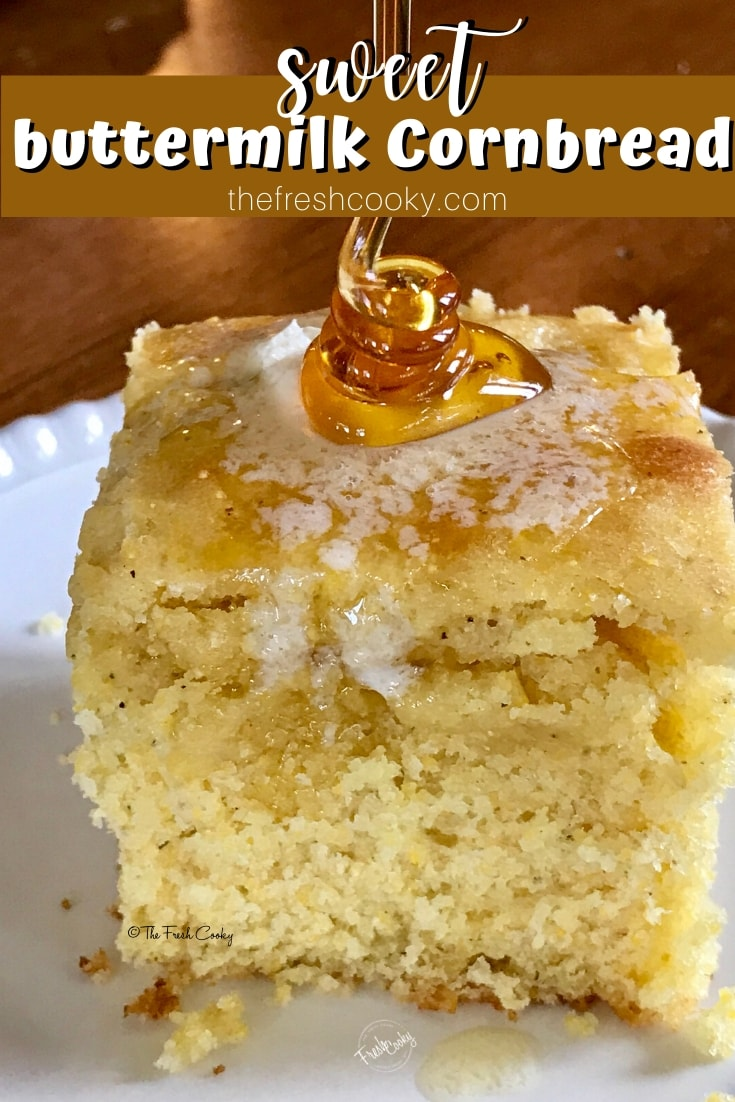 Pool of honey on cornbread | www.thefreshcooky.com