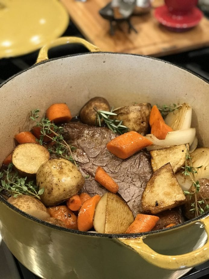 Sunday Pot Roast is an easy and tender recipe that turns an inexpensive beef pot roast into a succulent, tender feast. With winter vegetables cooked until caramelized and tender with the roast make for a simple, but filling meal. Pair with a delicious, hearty bread and a crisp salad and you have dinner! #thefreshcooky #potroast #sunday #comfortfood #sundaydinner #recipe #fallrecipes