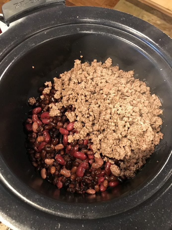 Tri-Color beans in crock pot with ground beef