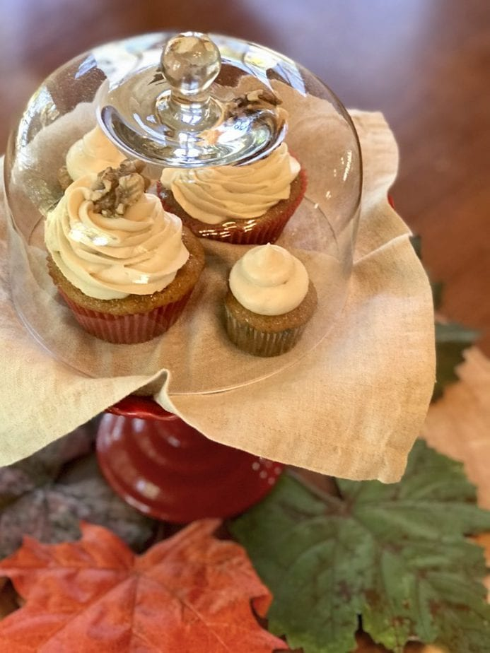 Carrot Cake Cupcakes with Brown Sugar Cream Cheese Frosting, nuff said, try these cupcakes, they are amazing! #thefreshcooky #carrotcupcakes #carrotcake #creamcheesefrosting #cupcakes #fallbaking