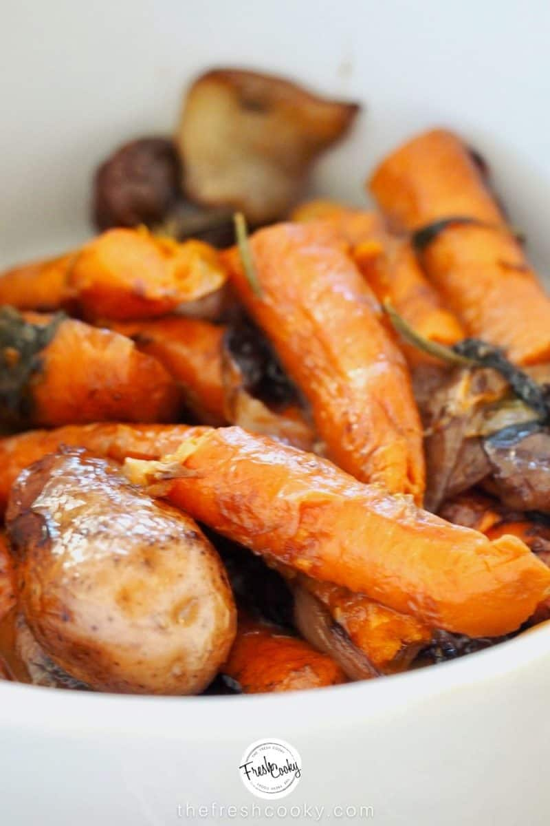 Slow roasted carrots, potatoes and onions from pot roast