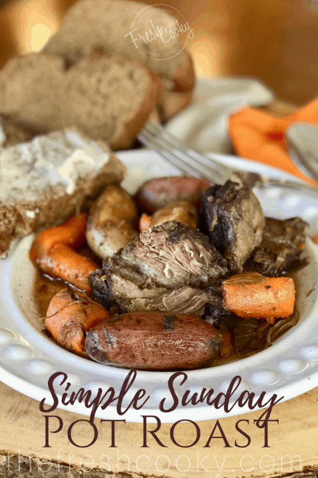 Perfect comfort food, slow cooked for a chilly day. Fork tender, juicy pot roast cooked in an amazing wine and beef broth with herbs and winter veggies. #thefreshcooky #potroast #sundaydinner #tender #slowcooked #winterveggies #slowroasted #comfortfood
