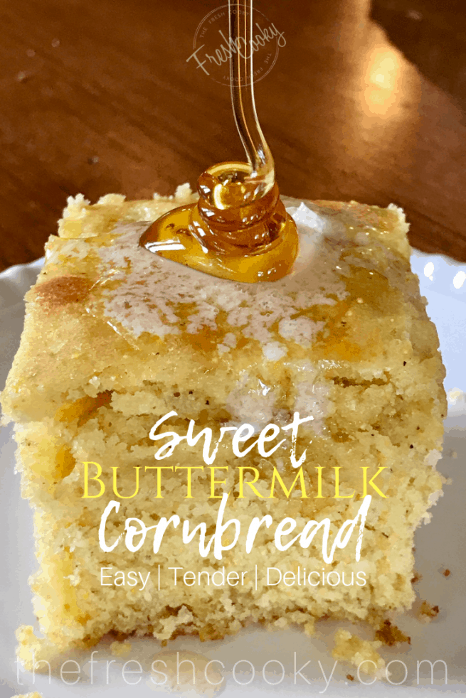 honey drizzling on sweet warm buttery cornbread | www.thefreshcooky.com