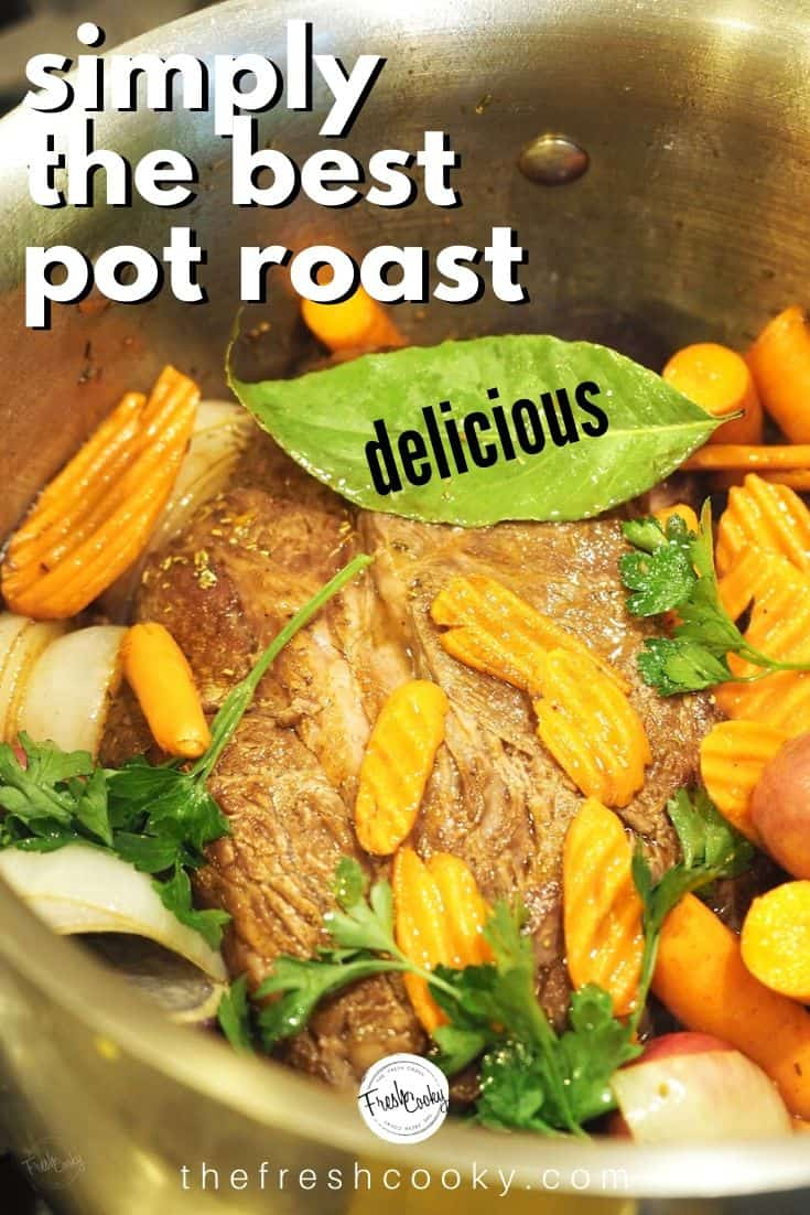 Sunday Pot Roast is an easy and tender recipe that turns an inexpensive cut of beef into a delicious dinner. Caramelized carrots, potatoes, onions in a mouthwatering beef broth, slow cooked until fall apart tender. Pair with hearty bread and a crisp salad and you have dinner! Recipe #thefreshcooky #potroast #supper #sundaydinner #recipe #roast #easy #pioneerwoman #comfortfood #best #slowcooked #breadandbutter #roast via @thefreshcooky