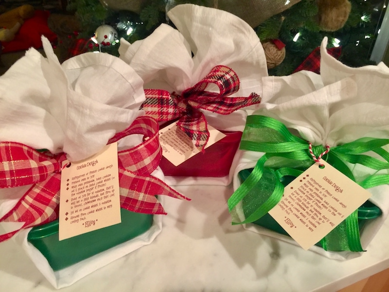Cookie Dough Ball Hostess Gift wrapped in ribbon| www.thefreshcooky.com
