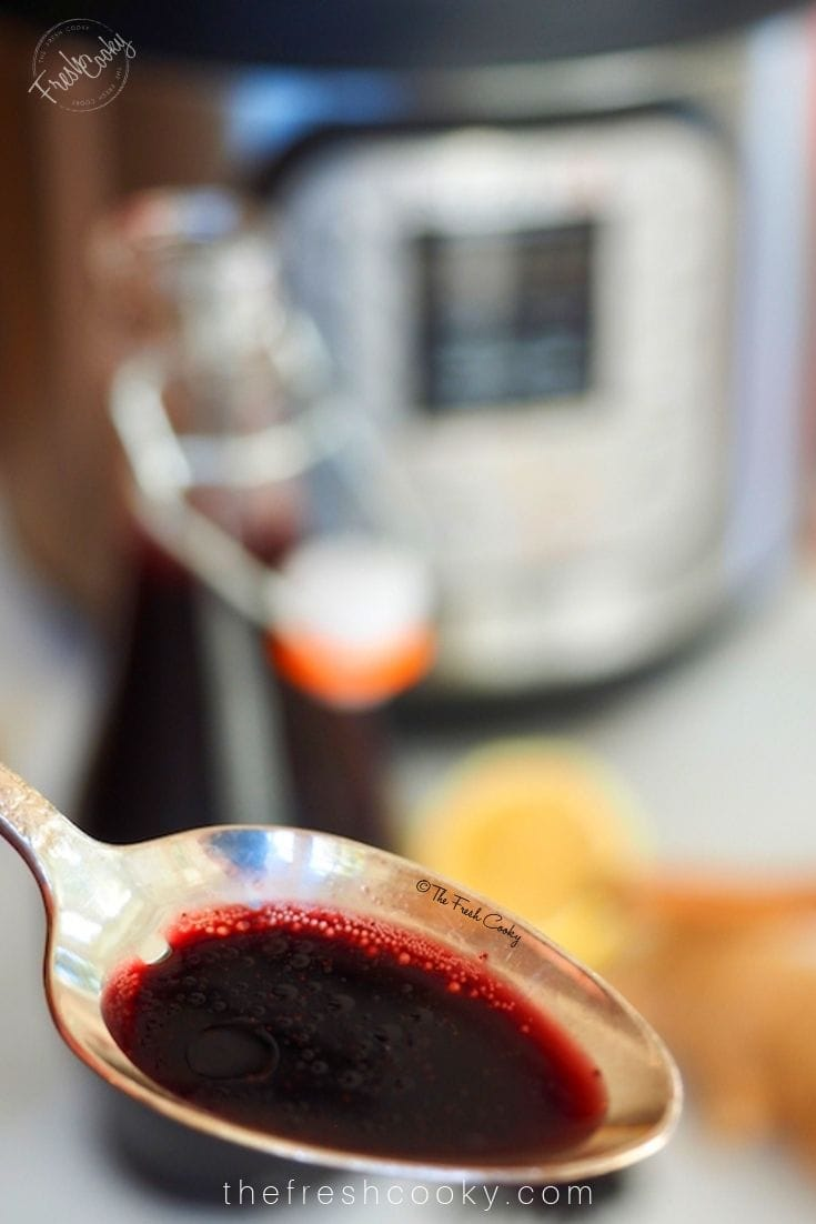 spoonful of elderberry syrup with instant pot in background | www.thefreshcooky.com