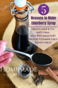 Homemade DIY Elderberry Syrup! Make on the stove top or Instant Pot! Great for preventing colds and flu. We take it at the first sign of flu season and continue to take it daily throughout the winter months. Easy to make, immune boosting syrup. #thefreshcooky #elderberrysryup #elderberries #diy #instantpot