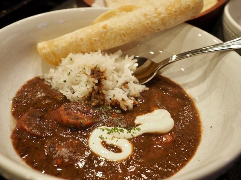Heart bowl of Black Bean and Kielbasa Soup with Rice | www.thefreshcooky.com